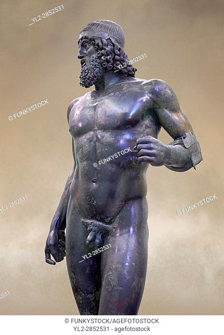 Torso of the Riace bronze Greek statue A cast about 460 BC. statue A was probably sculpted by Myron. The style of the Riace statues straddles the archaic period...