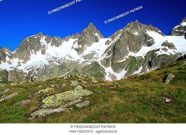 Switzerland, Europe, Canton Uri, Funffingerstock, Wendenhorn and Wasenhorn, Susten Pass area, summer, Central Switzerl