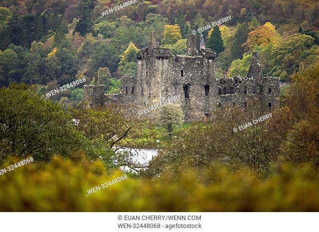 Autumn colours comes to Kilchurn Castle, located on a rocky peninsula at the northeastern end of Loch Awe, in Argyll and Bute Featuring: Kilchurn Castle Where:...