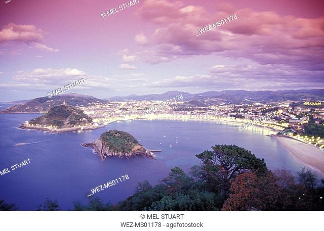 Spain, San Sebastian Donostia, view of citscape, elevated view