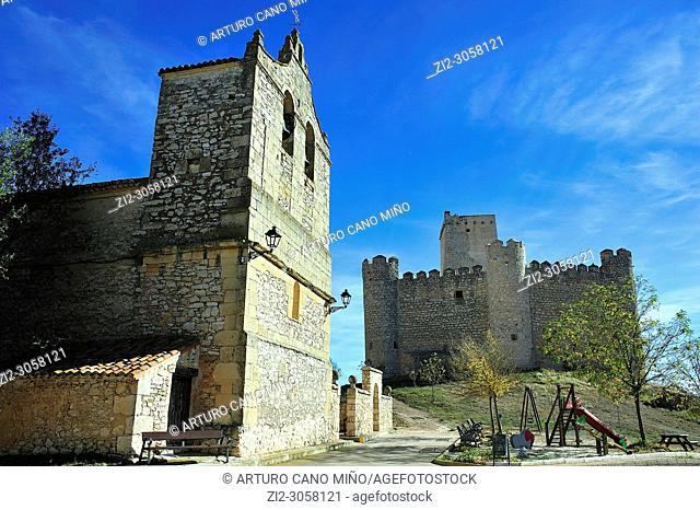 The parish church and the Castle (14th century). Embid town, Guadalajara province, Spain