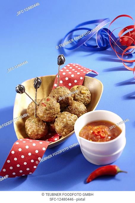 Carnival meatballs on small sticks