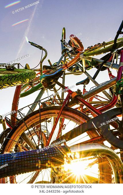 Bicycle installation, Burgenland, Austria, Neusiedlersee Seewinkel