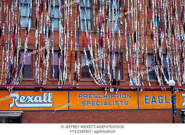 BRAdway Show streamers, each consisting of 13 bras hooked together, down the side of the Eagle Drug building on Broadway in Crookston