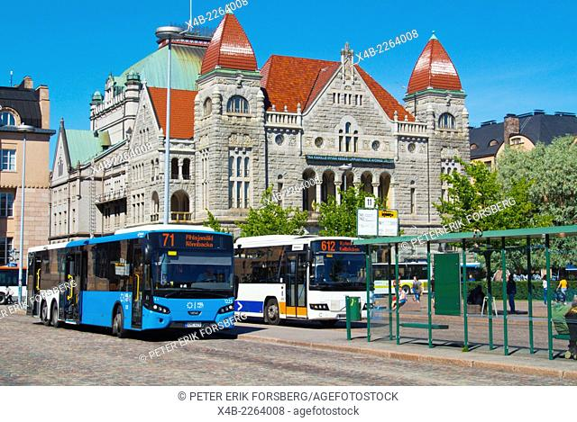 Local bus station, Rautatientori, the square next to railway station, with National Theatre in background, Helsinki, Finland, Europe