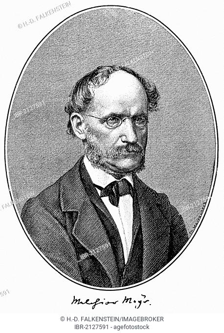 Historical print, portrait of Melchior Mey, 1810 - 1871, German poet and philosopher, from the Illustrated History of German National Literature