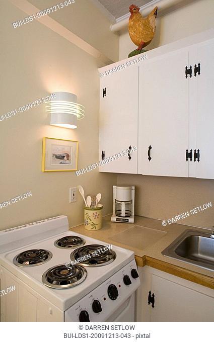 Small white apartment kitchen