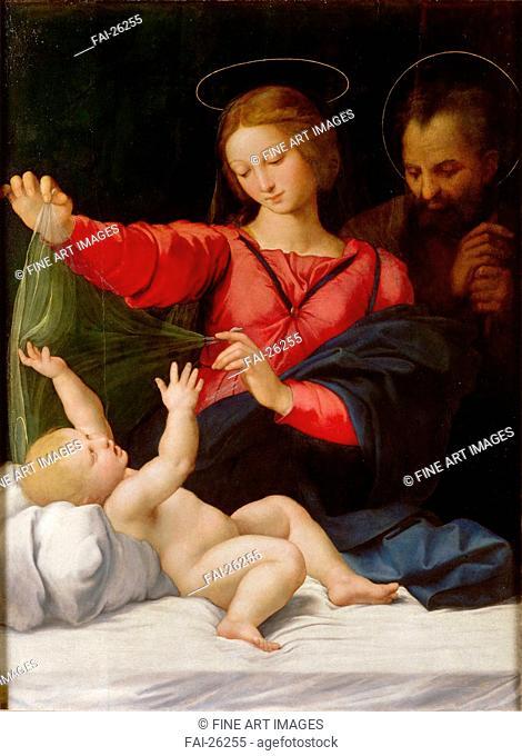 Madonna of Loreto. Raphael (1483-1520). Oil on wood. Renaissance. c. 1508. Italy, Roman School. Musée Condé, Chantilly. 120x90. Bible. Painting