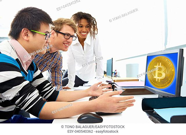 business team trading bitcoin btc in a computer screen