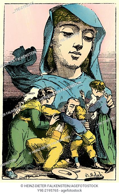 Amnesty, personified as Clemence-Angelique Amnistie, political caricature, 1882, by Alphonse Hector Colomb pseudonym B. Moloch, 1849-1909, a French caricaturist
