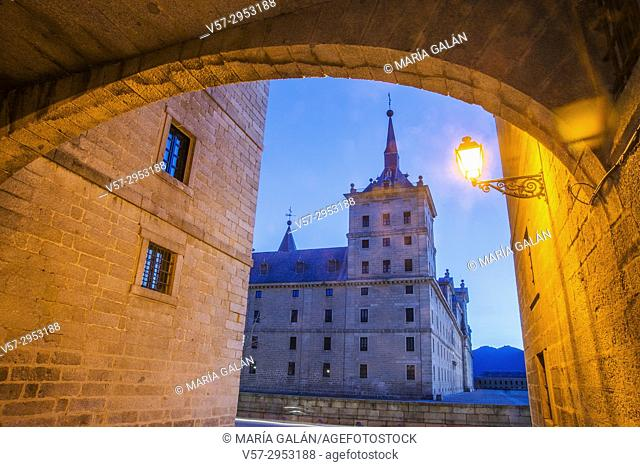 Royal Monastery, night view. San Lorenzo del Escorial, Madrid province, Spain