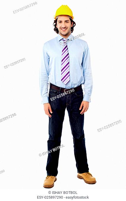 Handsome young engineer isolated on white