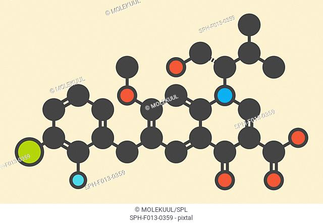 Elvitegravir HIV treatment drug (integrase inhibitor) molecule. Stylized skeletal formula (chemical structure). Atoms are shown as color-coded circles: hydrogen...