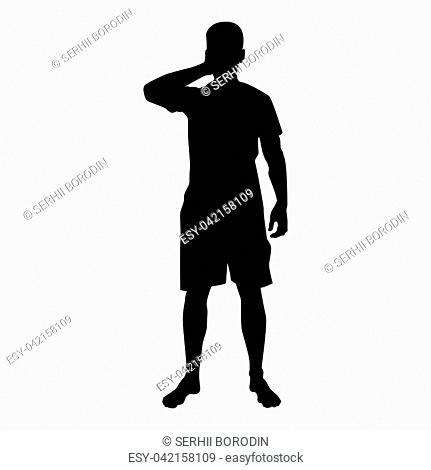 Man closing his eyes his hands silhouette front view icon black color vector illustration flat style simple image