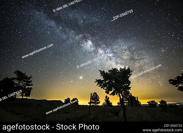 Milky way on the Gudar mountains starlight spot in Teruel Spain
