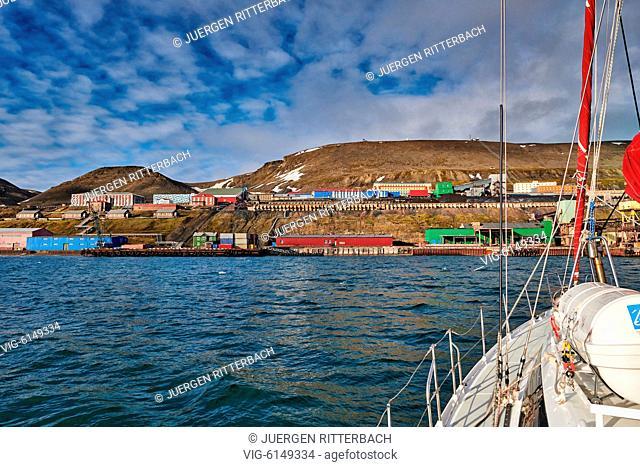 russian mining town Barentsburg seen from the sea, Svalbard or Spitsbergen, Europe - Barentsburg, Svalbard, 26/06/2018