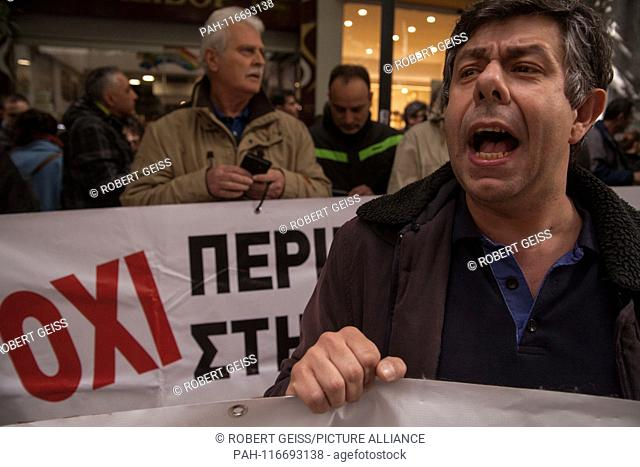 """Greek Employees of public hospitals, during a rally in front of Ministry of Economy, against layoffs. Writing """"""""No"""""""". 06.02.2019 