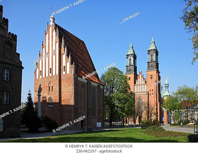 Twin Towers of St, Peter and Paul Cathedral, dome church on Ostrow Tumski Island, Poznan, Poland