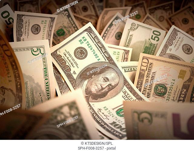 Dollar bills, computer artwork