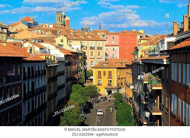 View over Segovia street and the Madrilenian ward of La Latina from the Viaducto, a bridge built in 1934 to open a quick link between the Palacio Real and S