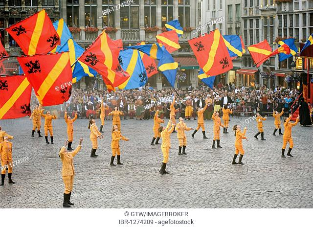 Flag procession during the Ommegang Festival, Brussels, Belgium, Europe