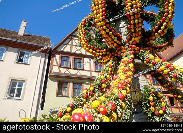 easter decoration, easter fountain, herrenbrunnen