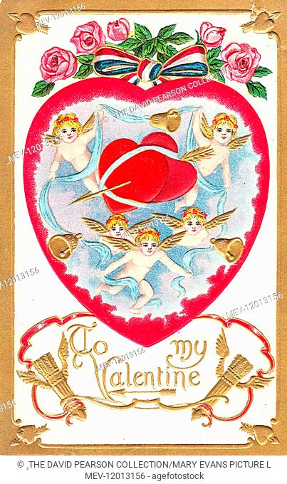 Cupids with red hearts, blue ribbon, arrows and pink roses on a Valentine postcard -- To my Valentine