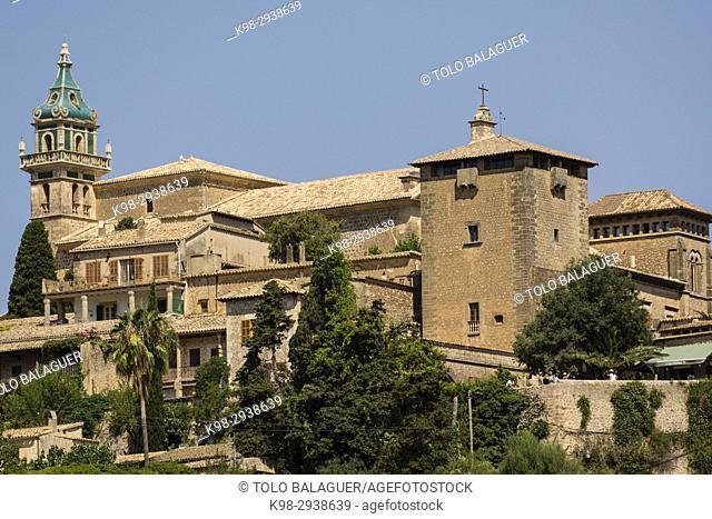 cartuja y torre palacio del rey Sancho, Valldemossa, sierra de tramuntana, Mallorca, Balearic Islands, Spain