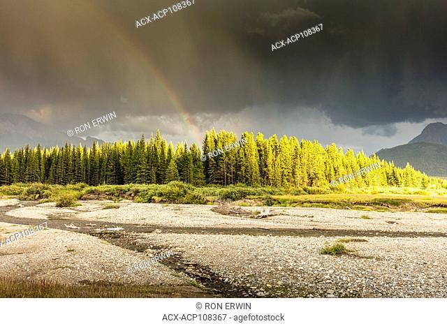 Stormy skies over Lower Kananaskis Lake in Peter Lougheed Provincial Park, Alberta, Canada