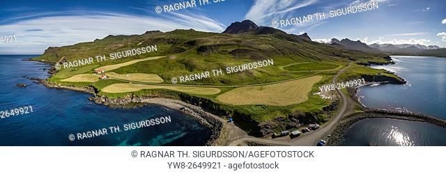 Aerial view of Borgarfjordur Eystri, Eastern, Iceland