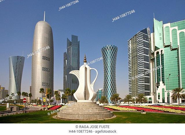 Qatar, architecture, skyline, blocks of flats, high-rise buildings, Corniche, teapot, art, skill, plastic, Doha, traveling, place of interest, landmark