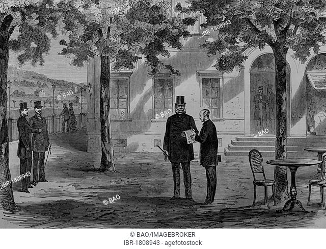 King Wilhelm I and Count Benedetti in Ems on July 13th 1870, historic illustration, illustrated war chronicle 1870 to 1871, German campaign against France