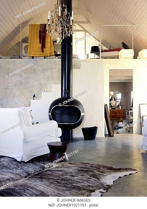 Fireplace and loft apartment