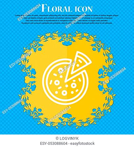 Pizza Icon sign. Floral flat design on a blue abstract background with place for your text. Vector illustration