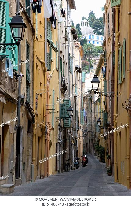 Alley in the historic centre, Menton, Cote d'Azur, Provence-Alpes, France, Europe