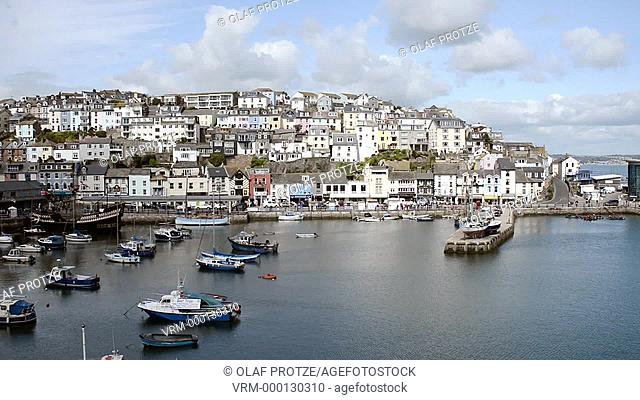 View over Brixham a small fishing town at the Torbay coast England
