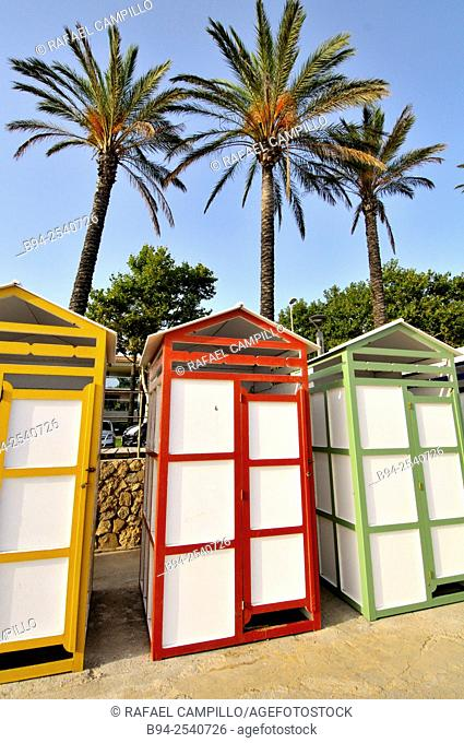 Beach huts. S'Agaró. Municipality in the middle of the Costa Brava. Girona. Catalonia. Spain