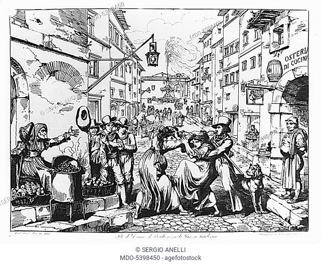 Street women fight near Piazza Barberini (Lite di donne di strada presso la piazza Barberini), by Bartolomeo Pinelli, 1830, 19th Century, etching