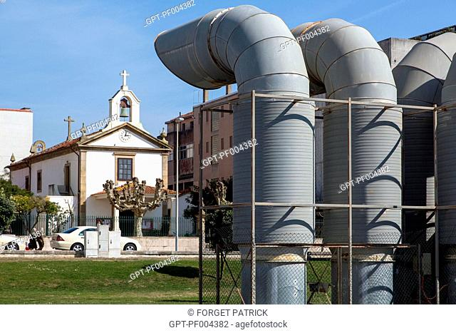 CAPELA DE NOTRE DAME DA AJUDA IN FRONT OF THE CITY'S VENTILATION PIPES, THE SEASIDE TOWN AND RESORT OF ESPINHO, PORTUGAL