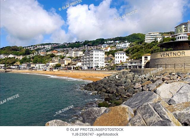 View over beach and the small coastal town Ventnor at the Isle of Wight, South England