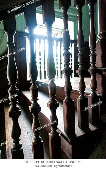 Interior stair railing detail of the 19th century Drayton Hall plantation near Charleston South Carolina