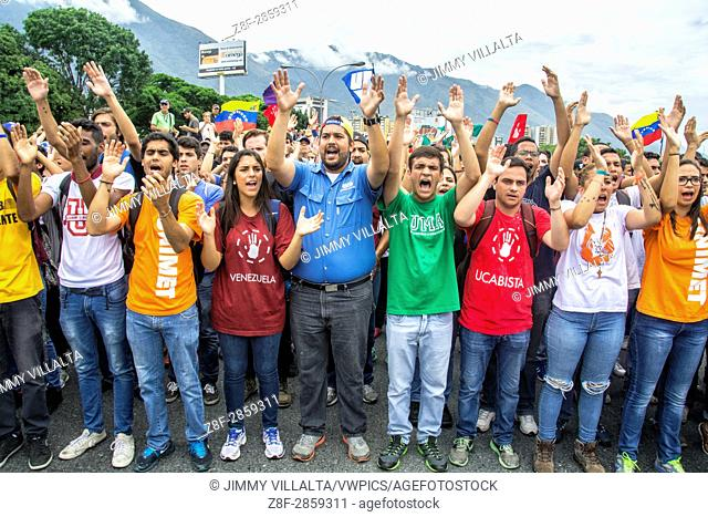 Students leaders of the main universities of Caracas in the march of the opposition. Opposition march on Wednesday, May 4