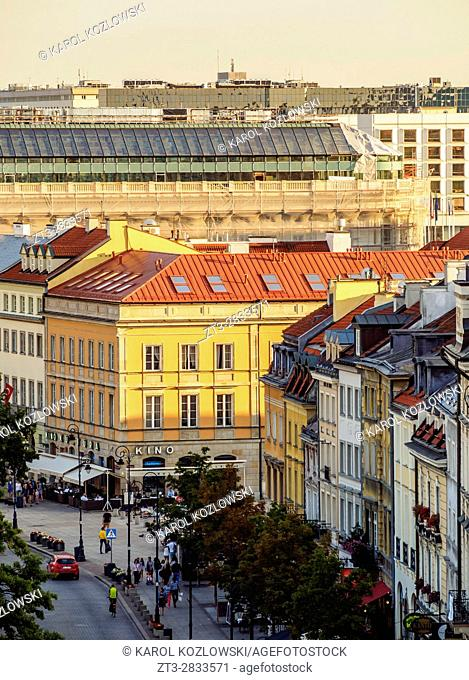 Poland, Masovian Voivodeship, Warsaw, Elevated view of the Krakowskie Przedmiescie Street