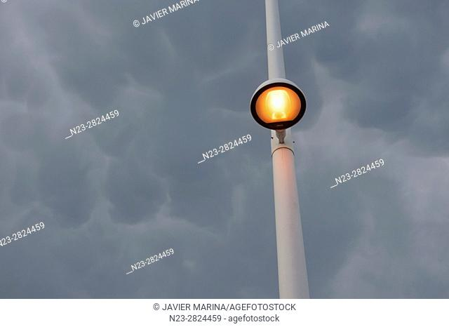 Streetlight and cloudy sky, Valencia, Spain