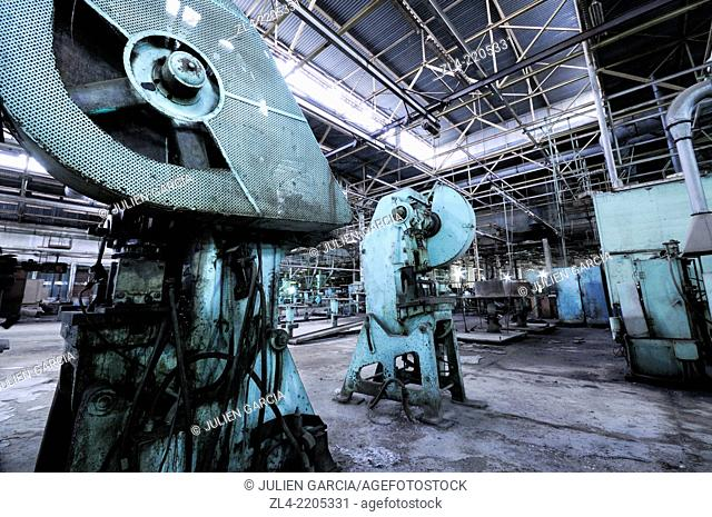 Abandoned air conditioner factory which used to employ 6000 workers in the 1970s until the production was ground to a halt as a result of the collapse of the...