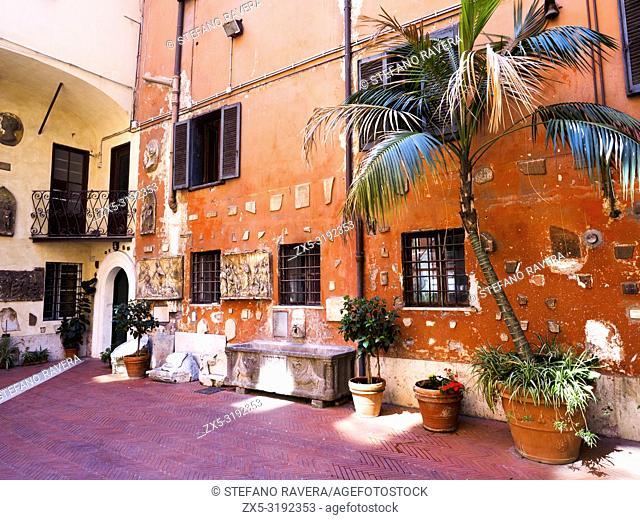 Courtyard of San Silvestro in Capite catholic church - Rome, Italy