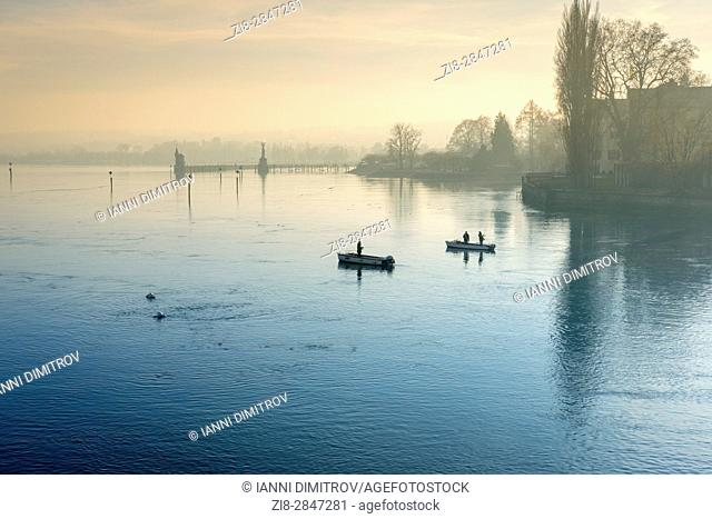 Anglers, Lake Constance, Bodensee, Germany