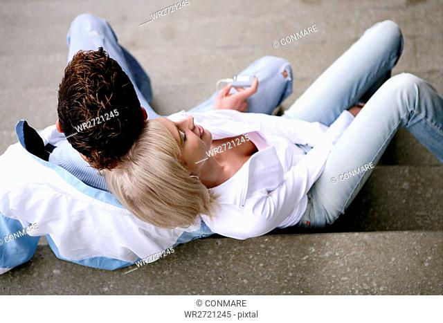teenage couple, leaning, love, stairs, young adult