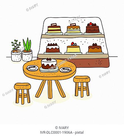 Cake in shop with table and chair