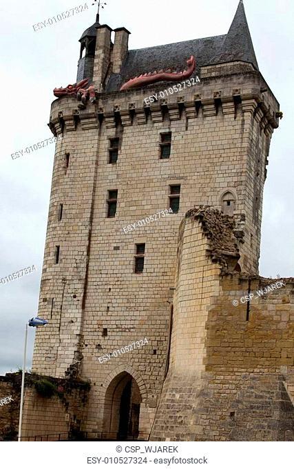 Castle of Chinon - La Tour de l'Horloge/ clock tower/. Loire Valley